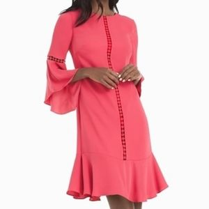 WHBM Coral Bell-Sleeve Shift Dress